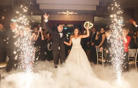MD wedding DJ using cold sparks effect at Baltimore wedding reception